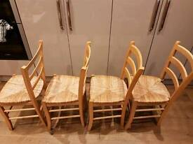 4 dining chairs with rush / rattan seats