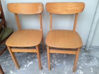 **pending collection** Vintage style wood & vinyl dining chairs