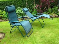 Two Lafuma R Clip Recliner Chairs in Green, Good condition surplus to requirments