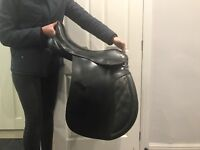 Black leather Rivington GP saddle 22cm d to d rings fitted 15.2 welsh
