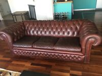 Brown leather chesterfield style 3 seater sofa couch with detachable cushions