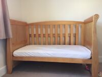 Kiddicare sleigh Cotbed cot, wardrobe, changing table with drawers. Nursery baby furniture