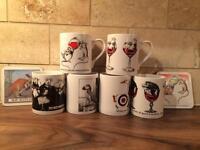 6 Simon Drew mugs with 2 coasters