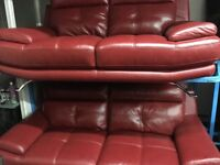 New/Ex Display Red Leather Genoa 3 Seater Sofa and 2 Seater Sofa