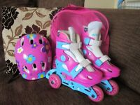 Girls Active Roller Skates Size X's 26-29 (UK size 9-11)