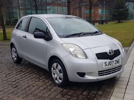 2007 TOYOTA YARIS T2, 1.0 PETROL , MANUAL, 3 DOORS HATCHBACK, LONG MOT, CHEAP TO RUN AND INSURE!!