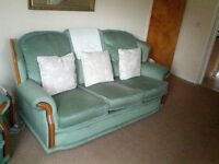 three seater suite and matching chair excellent condition