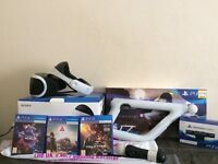 Playstation VR headset & accessories plus 3 games