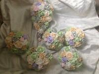 Pastel colour brides Bouquet and 5 adult bridesmaids Bouquets