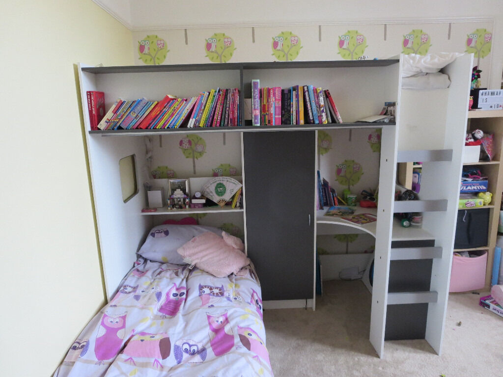 High Sleeper Bed with Futon Style Pullout Bed Underneath ...