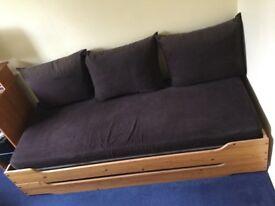 Wooden framed sofa bed