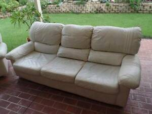 Leather Lounge 3 Seater and 2 Single Seats in Good Condition Cranebrook Penrith Area Preview