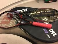 Pair of tennis rackets. Prince and Wilson with carry bags