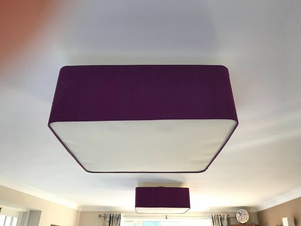 2 light shades for ceiling lights purple surround white base in 2 light shades for ceiling lights purple surround white base aloadofball Images