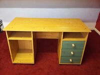 wood pine desk and chair