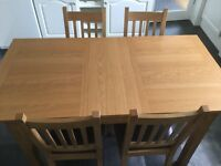 Oak effect dining table & 4 chairs