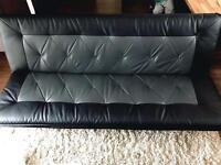 Faux leather Black grey sofa bed