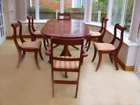 ELEGANT 7 FOOT -YEW DINING TABLE & 6 CHAIRS (4 CHAIRS & 2 CARVER CHAIRS)- CAN DELIVER