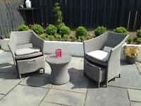 Grey rattan table and chairs