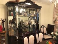 Italian mahogany furniture. Dining table and chairs. Side cuboard very good condition