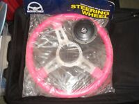 Mountney pink leather steering wheel and steering column adaptor boss
