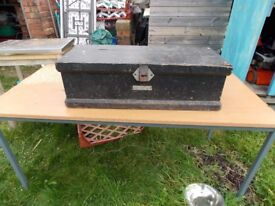 A vintage wooden tool box. In good condition for age