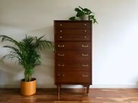 Mid Century G Plan Tall Boy Chest of Drawers by E Gomme