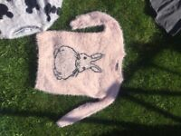 NEW WITH TAGS PLUSH MOHAIR PALE PINK RABBIT BUNNY WARM SOFT WINTER JUMPER WOMENS SIZE 6 AGE 15-16 Y