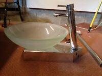 Bristan bathroom designer mixer tap and glass basin