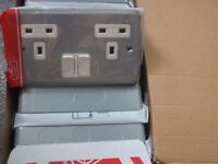 MK K2946ALM Metalclad 13A 2 gang Double Switched socket and Back Box
