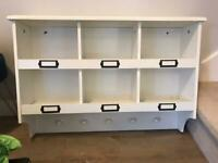 Pigeon hole style display shelves with hooks
