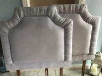 Two grey velvet single bed headboards