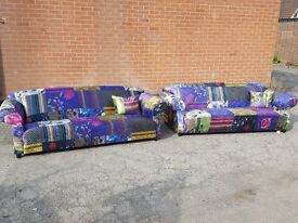 Fabulous Patchwork sofa suite.velvet material, pair of 3 seater sofas. 1 month old.clean.can deliver