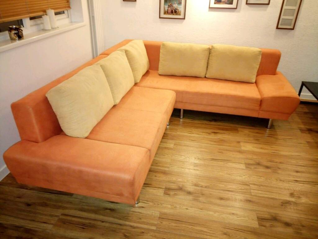 Large Sofa Bed: Orange Large Corner Sofa Bed With Storage
