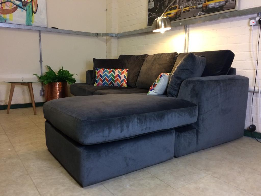 Next Stratus Charcoal Grey Velvet Corner Sofa