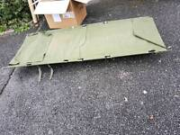 Military camping bed.