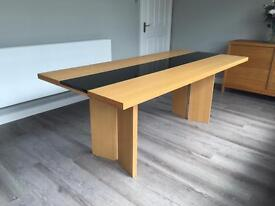 Terence Conran Stripe Dining Table, Oak and Solid Black Granite