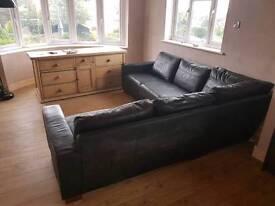 Black leather M&S corner sofa