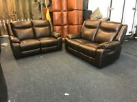 BROWN REAL LEATHER RECLINER PAIR OF 2 SEATER SOFAS TWO PLUS TWO ELECTRIC MANUAL FREE LOCAL DELIVERY