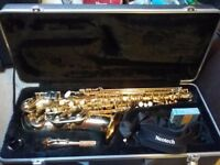 ALTO SAXAPHONE IN ALMOST NEW CONDITION WITH CASE,STAND AND SPARE REEDS