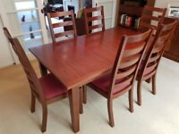 Extending Dining Table + 6 upholstered chairs