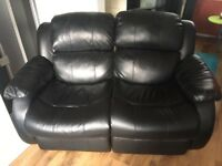 Two and three seater leather couch
