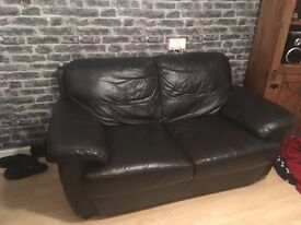 2 seater leather sofa nearly new £80.00