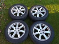 """16"""" Subaru Wheels with Good Tyres, 205/55/16, PCD 5X100, may also fit Toyota, VW, Seat, Skoda, Audi"""
