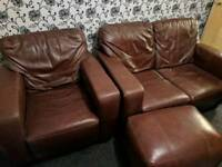 Brown Leather 2 Seater Sofa and Armchair Suite with Footrest
