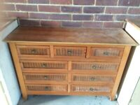 Cane and Wood Sideboard with 9 drawers - NOW SOLD