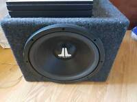 "JL audio 12"" subwoofer with amp and with wiring"