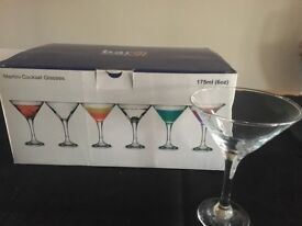 Cocktail glasses martini 175 ml x 6 NEW