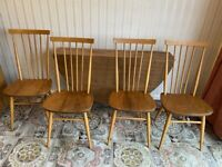 Original 60s Ercol Dining Table and 4 Chairs Light Wood