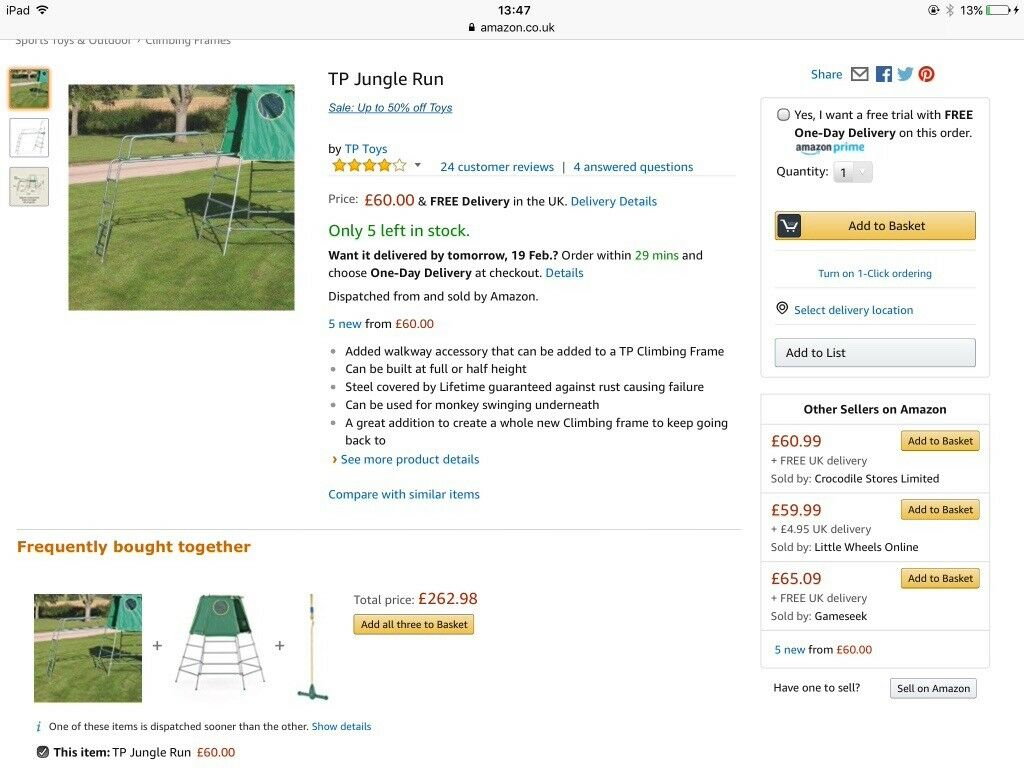 Tp jungle run climbing frame accessory | in Hartford, Cambridgeshire ...